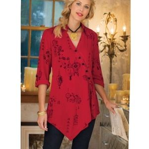 Soft Surroundings Pagoda Oriental Red Tunic X774